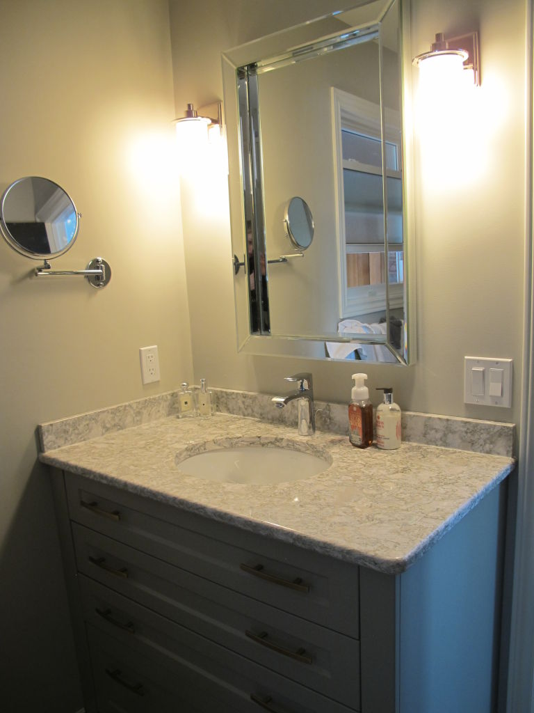 Grey Painted Bathroom With Subtle Gold Hardware Woodecor