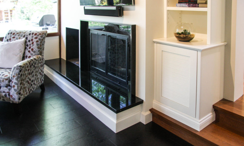 Sleek Fireplace/Bookcase