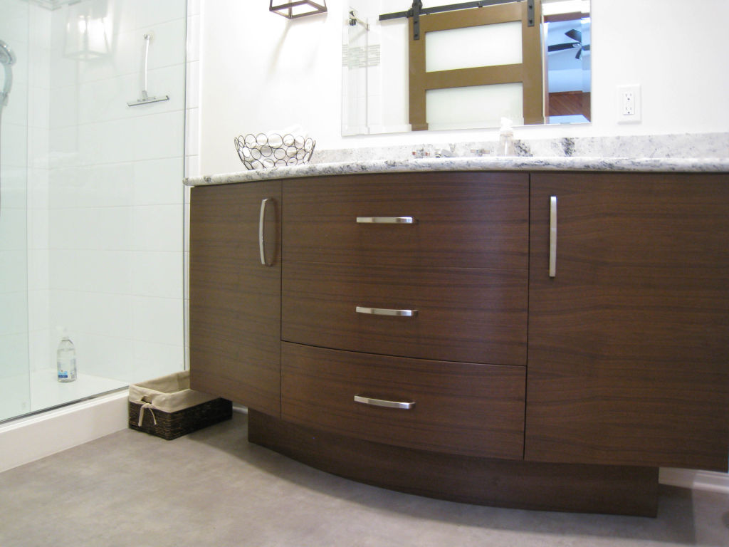Modern Curved Vanity Woodecor Quality Custom Cabinetry