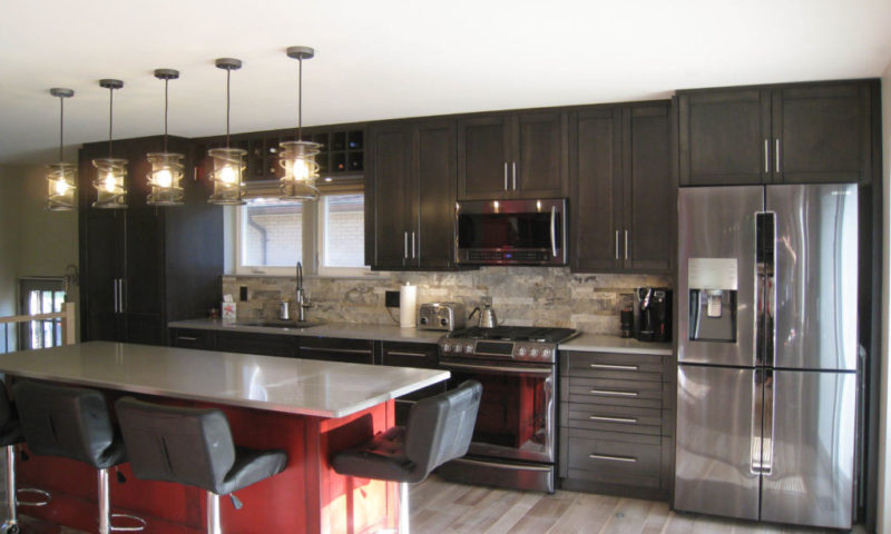 Red and Black Galley Kitchen